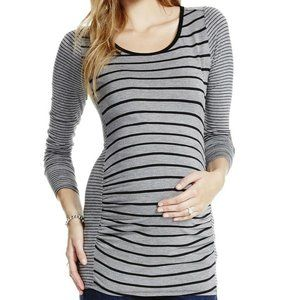 Jessica Simpson Maternity L Gray Stripe Shirt